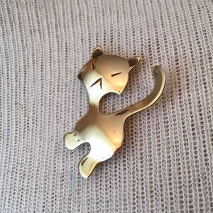 Vintage Jewelry - Abstract Brass Cat Pin Otto Robert Bade MidCentury